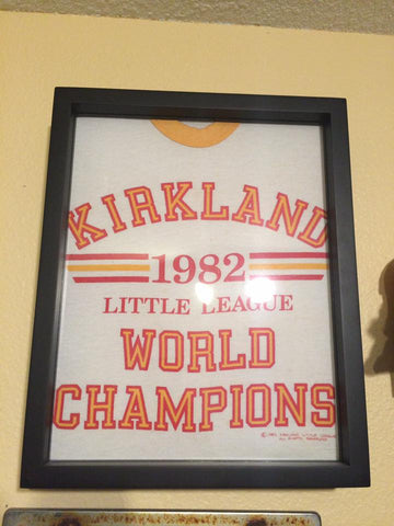 Kirkland 1982 Little League World Champions tee shirt framed and displayed in a Shart T-Shirt Frame Display Case