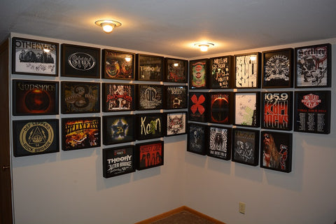 Heavy Metal Tee Shirt Collection displayed in a Shart T Shirt Frame Display Case
