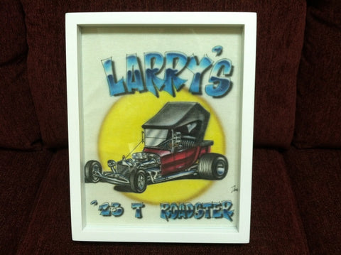 Roadster tee shirt framed and displayed in a Shart T Shirt Frame Display Case