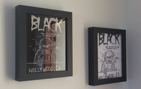 Black Hollywood California Nima Jalali tee shirt framed and displayed in a Shart T Shirt Frame Display Case