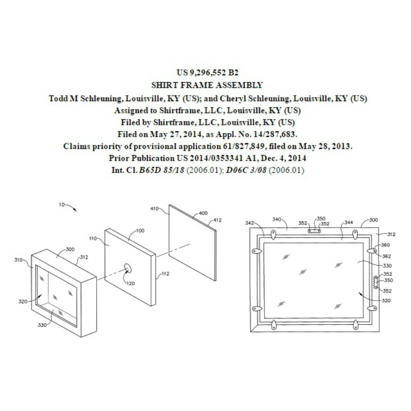 Shart T-Shirt Display Frame is patented with U.S. Patent No. 9,296, 552 B2