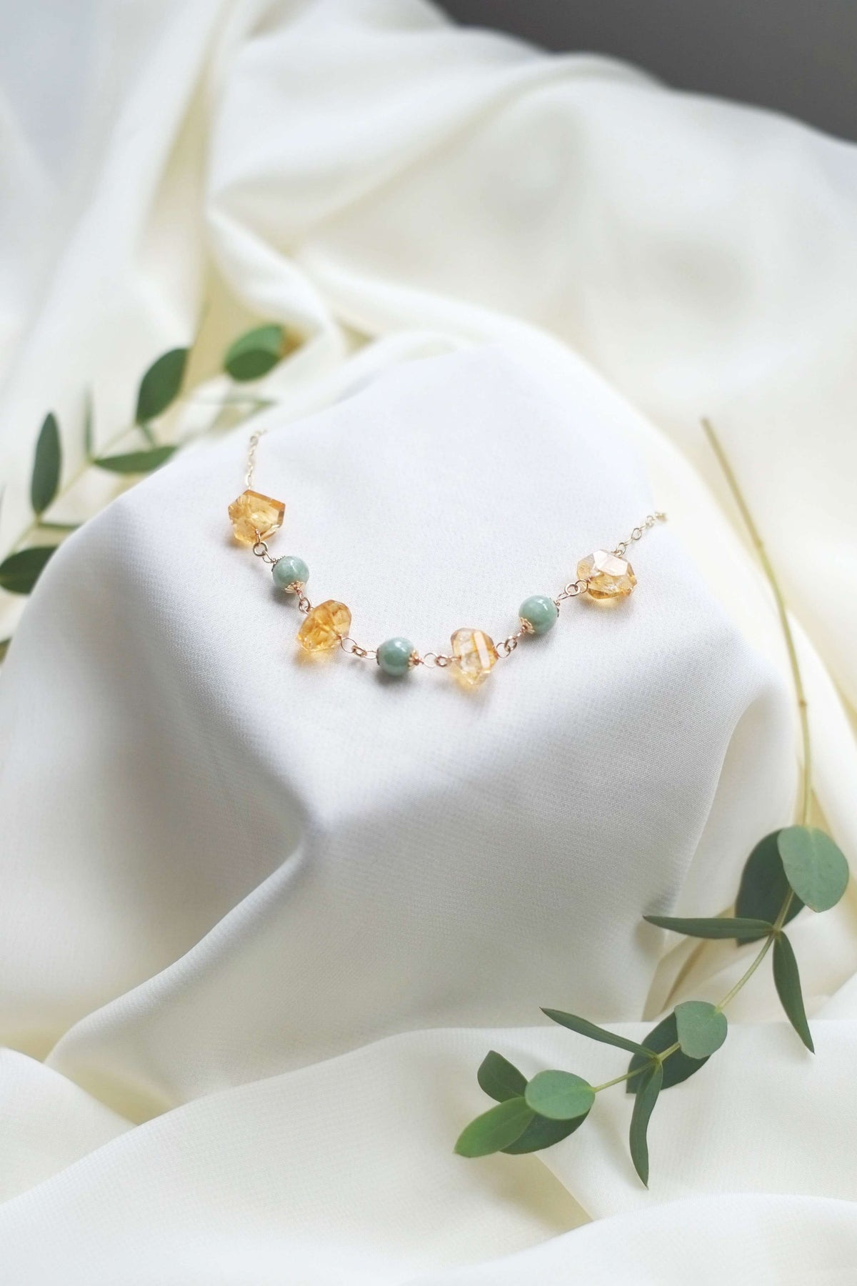 Jadeite and Citrine Necklace - hello flowers!