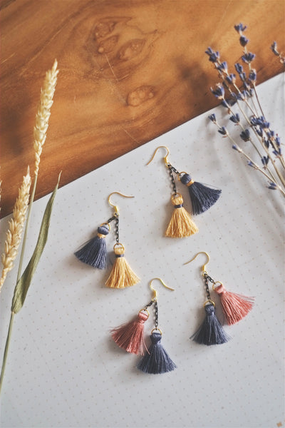 Twin Petite Tassel Earrings | by X - helloflowerssg
