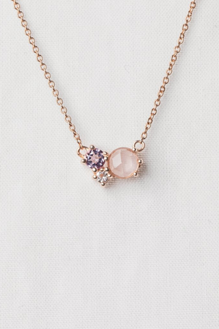 Valentine's Add Ons | Curious Creatures x Hello Flowers! - Jayne Cluster Necklace - Rose Quartz, Pink Amethyst and White Topaz