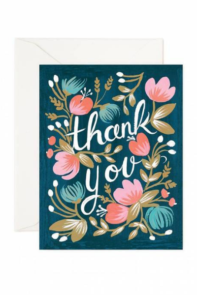 Midnight Garden | Thank You Greeting Card by Rifle Paper Co. - hello flowers!