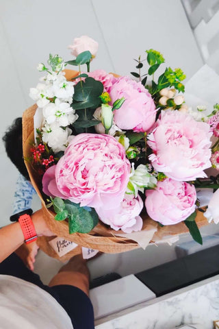 peonies bouquet pink Singapore
