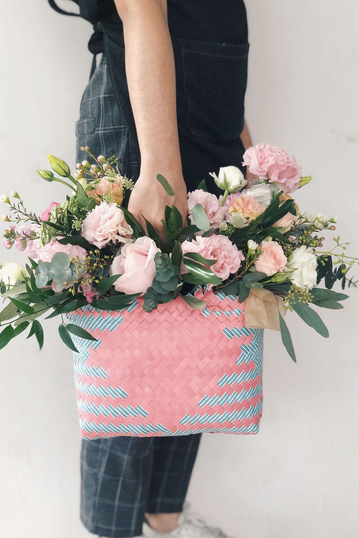 (NEW) Love is a Verb - Woven Basket - hello flowers!