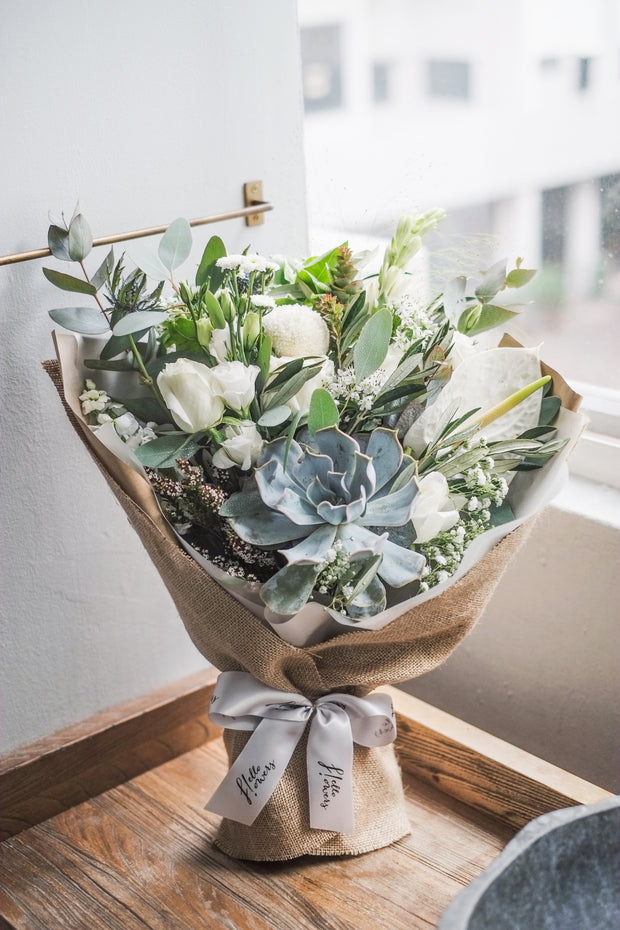 Minimalist White and Green Succulent Bouquet | Flower Delivery Singapore