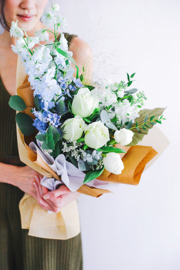 Valentine's 21 | Luna (Bouquet with Delphiniums, White Roses and Tulips)