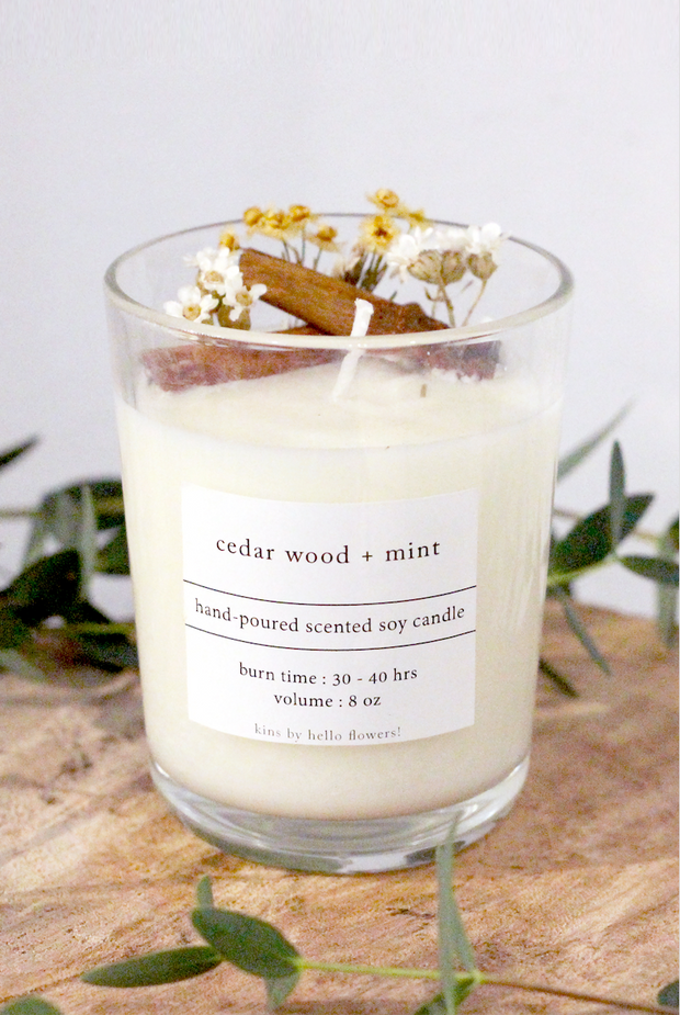 [Pre-Order] Hand Poured Soy Wax Candle by K - 8 oz. - hello flowers!
