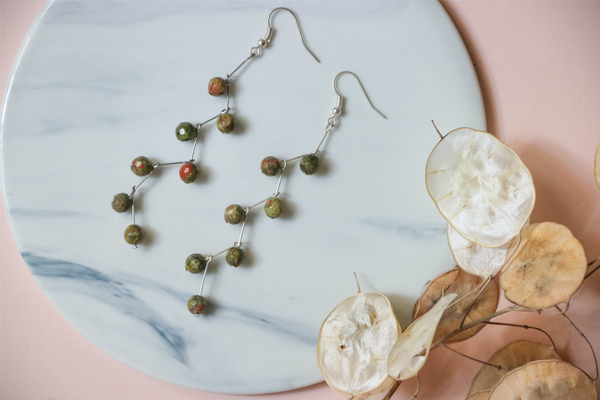 Unakite Bead Earrings | by X - helloflowerssg