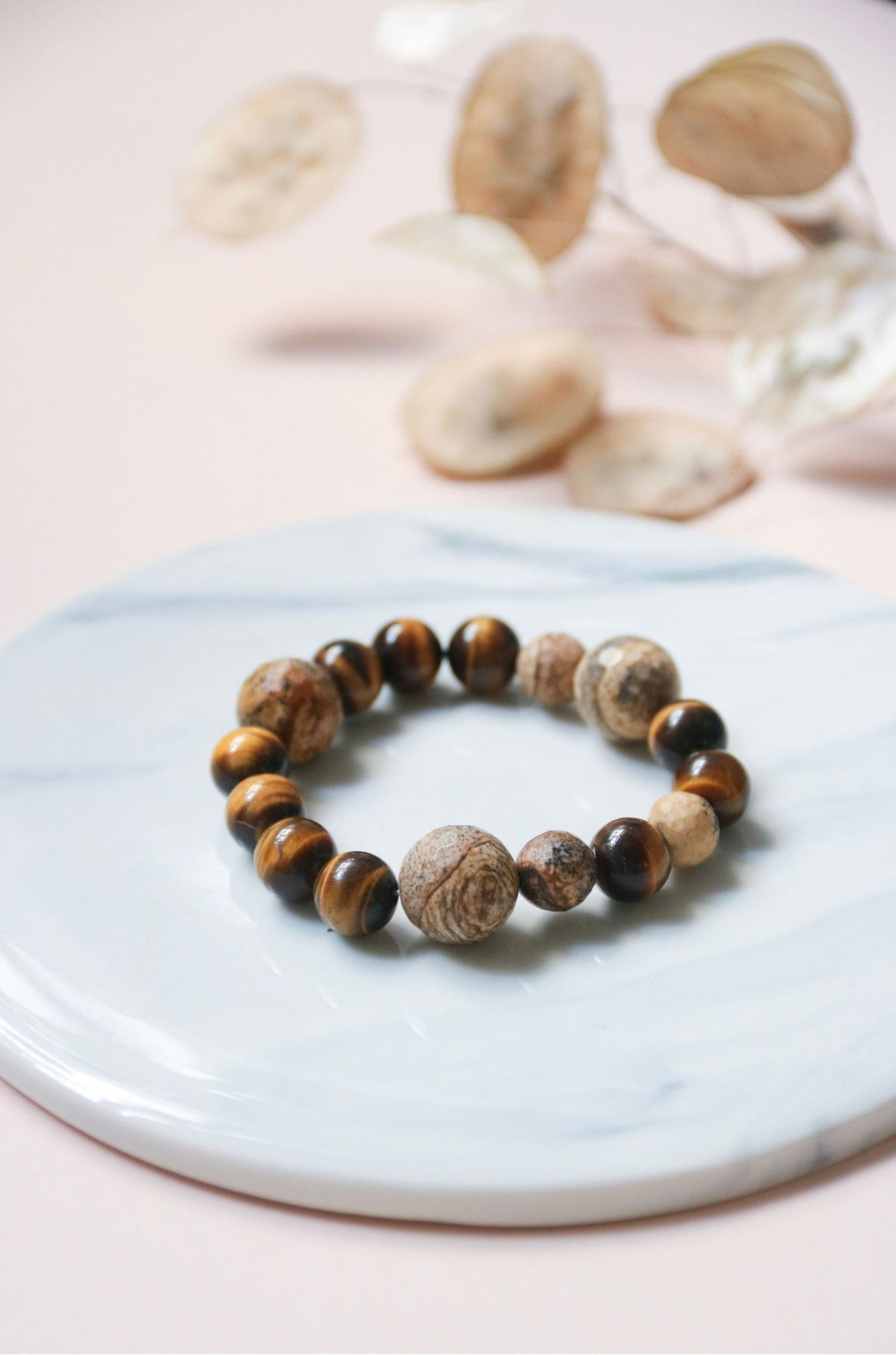 Tiger's Eye & Picture Jasper Bracelet | by X - helloflowerssg