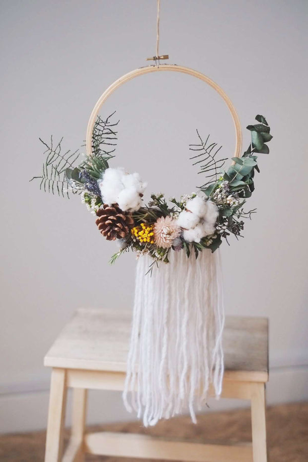 Hello Christmas! 18 | Ally Crafts Co x hello flowers! Embroidery Hoop & Tassel Wreath - hello flowers!