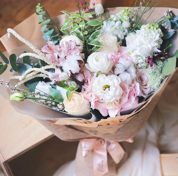 Valentine's | All of Me - Hydrangea Dried Cotton Bouquet (Blue/ Pink)