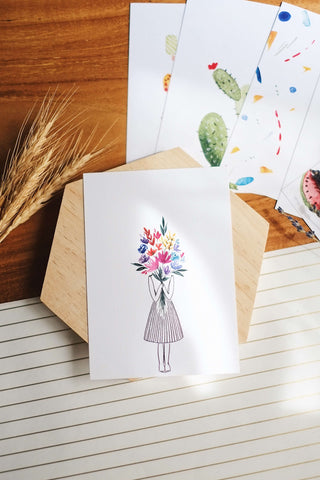 Girl with a Bouquet | Postcard by Kristen Kiong - helloflowerssg