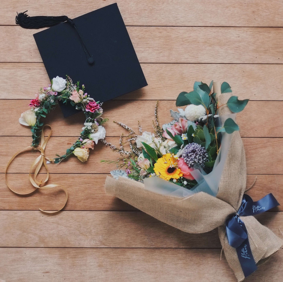 grad special | Bundle: Wildflower Crown + Small Hand-Tied Bouquet - hello flowers!