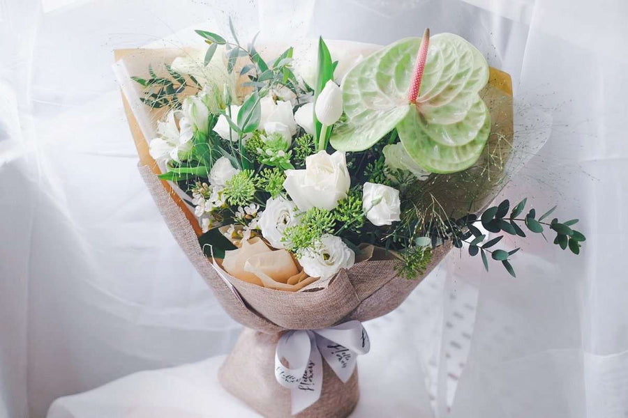Angelina - White and Green Bouquet