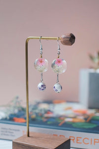 Dried Flower Dangle Earrings (Pink V.2) | Earrings by X - helloflowerssg