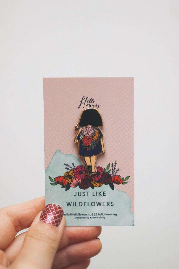 Just Like Wildflower Enamel Pin - hello flowers!