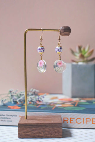 Dried Flower Dangle Earrings (Pink) | Earrings by X - helloflowerssg