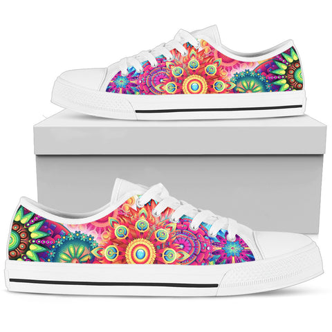Abstract Flowers Low Tops Colorful (White Sole)