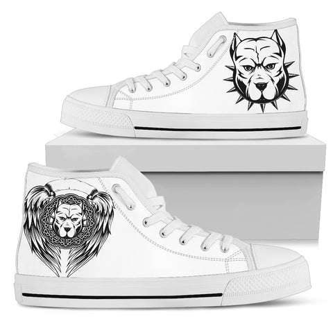 PITBULL WINGS - WHITE MEN'S HIGH TOPS