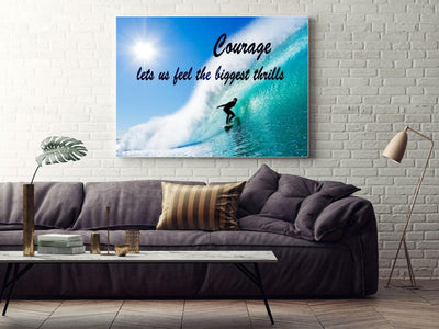 Large Canvas Modern Wall Art  - Courage Lets us Feel the Biggest Thrills Motivational Surf  Print