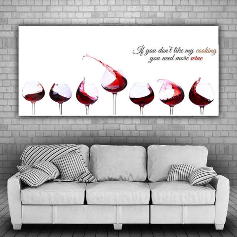 Large Canvas Modern Abstract Wall Art - If You Dont Like My Cooking You Need More Wine Canvas Print