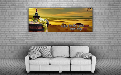 Large Canvas Modern Wall Art - Enjoy Life Like A Good Wine ....Savour Every Drop Canvas Print