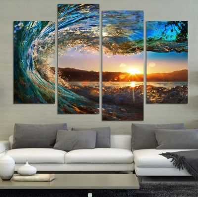 Large Canvas Modern Abstract Wall Art - Waves at Sunset 4 Panel Modern Seascape Canvas Print