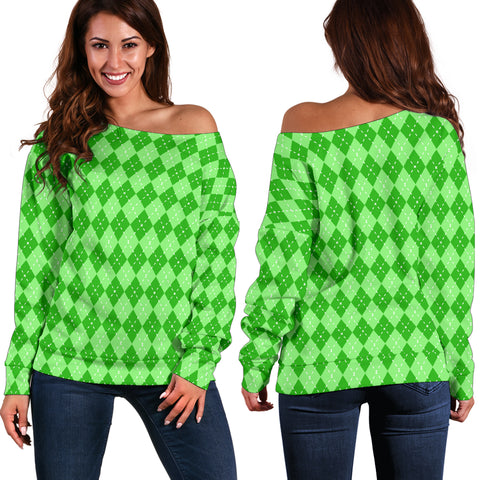 St Patricks Day Off Shoulder Sweater