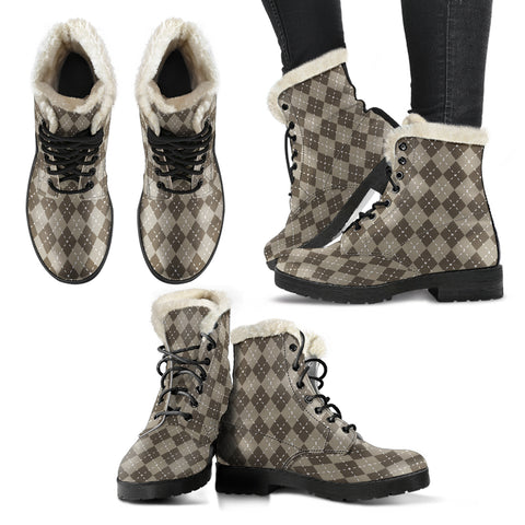 Chocolate Argyle Faux Fur Leather Boots