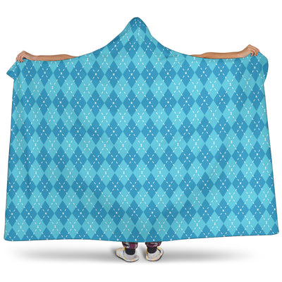 Blue Argyle Hooded Blanket