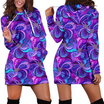 Purple Peacock Women's Hoodie Dress