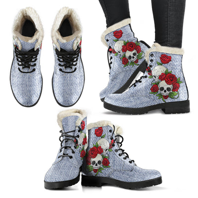 Skull Couple Roses (Light Denim) - Faux Fur Leather Boots