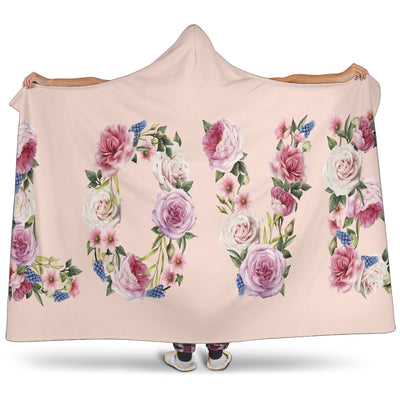 Floral Love (Pink) - Hooded Blankets