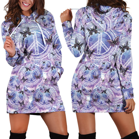 Peace Butterfly Hoodie Dress