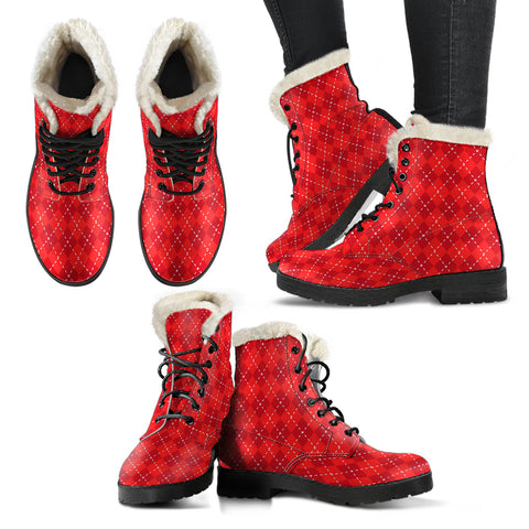 Red Argyle Faux Fur Leather Boots