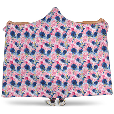 Watercolour Floral on Blue - Hooded Blankets