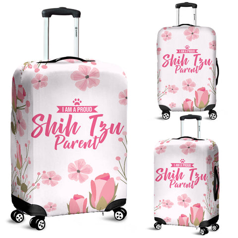 I am a proud Shih Tzu Parent Floral Luggage Cover