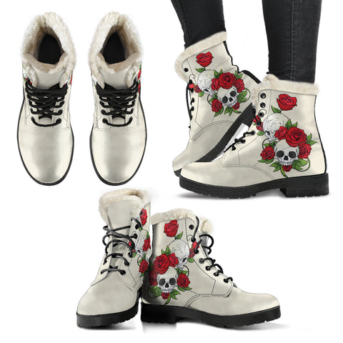 Sugar Skull Couple Roses (Sweet Corn) - Faux Fur Leather Boots
