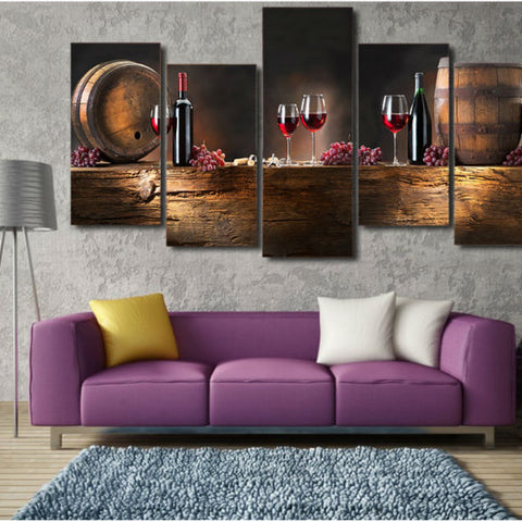Large Canvas Modern Wall Art Home Decor - Grapes with Red Wine Glasses and Oak Barrel Canvas Print