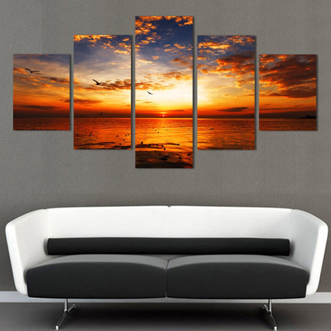 Large Canvas Modern Wall Art Home Decor - Beautiful Sea at Sunset 5 Panel Canvas Print