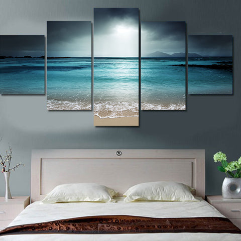 Large Canvas Modern Wall Art Home Decor - Ocean Sceascape 5 Panels  Canvas Print