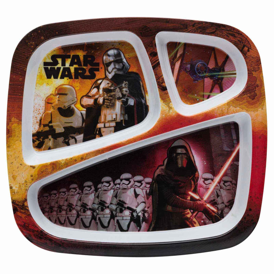 Zak! Designs 3-section Plate with Star Wars The Force Awakens Graphics, New
