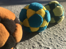 BLUE/YELLOW 32 panel Freestyle Footbag handmade by Justin Blotsky
