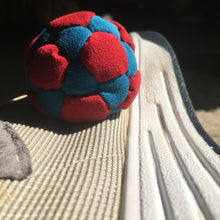 Big Red w/ Blue 32 panel Freestyle Footbag handmade by Justin Blotsky