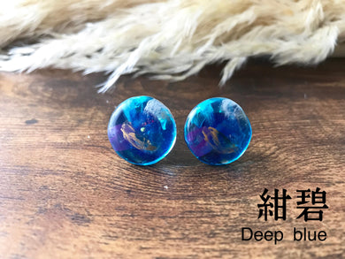 Roru Mari Abstract Painting Earring KON-PEKI  Deep blue