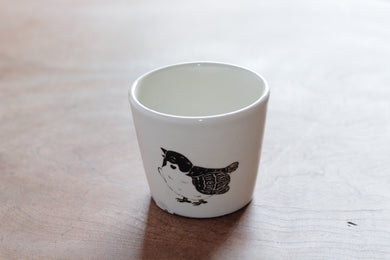 TAKUNOBU PORCELAIN YUNOMI TEA CUP LITTLE SPARROW TKYC07