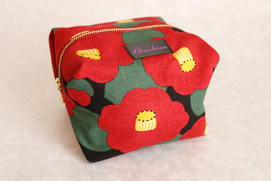 Bachica 3-way OTOFU POUCH size L Big Flowers Black x Red